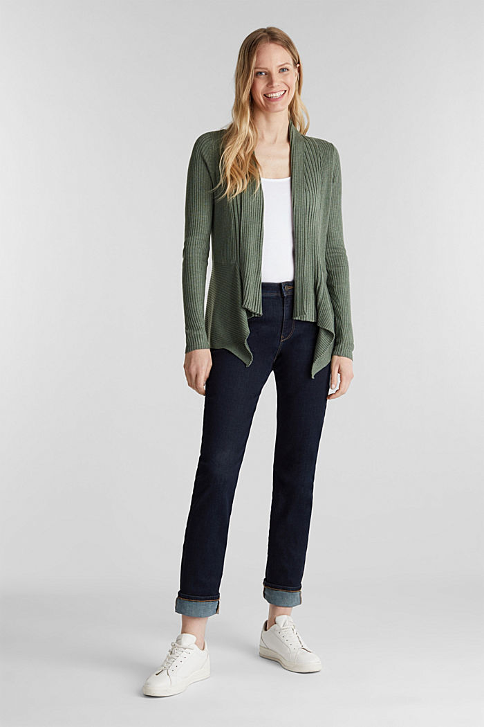 Recycled: open-front ribbed cardigan, KHAKI GREEN, detail image number 1