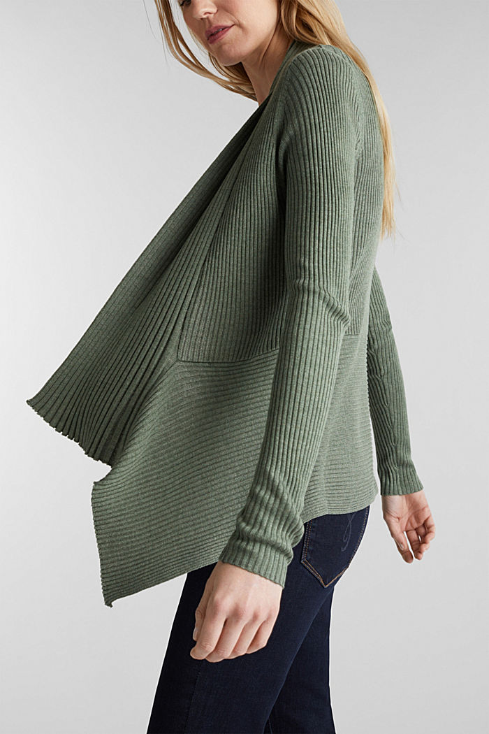 Recycled: open-front ribbed cardigan, KHAKI GREEN, detail image number 2