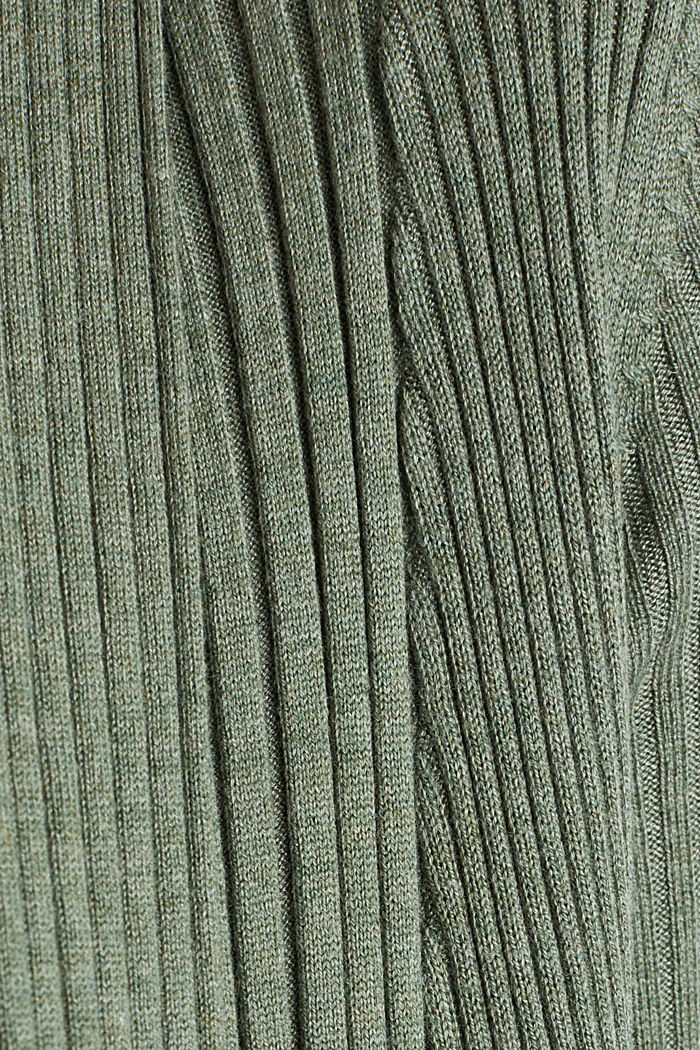 Recycled: open-front ribbed cardigan, KHAKI GREEN, detail image number 4
