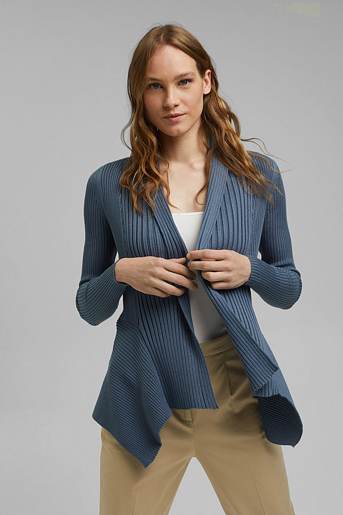 Recycelt: offener Ripp-Cardigan, GREY BLUE, detail image number 0