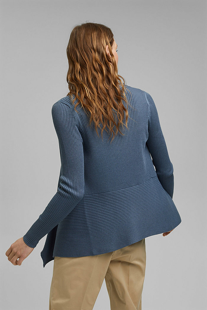 Recycelt: offener Ripp-Cardigan, GREY BLUE, detail image number 3