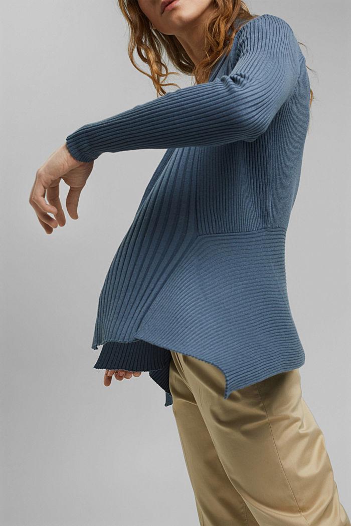 Recyclé: le cardigan en maille côtelée à la coupe ouverte