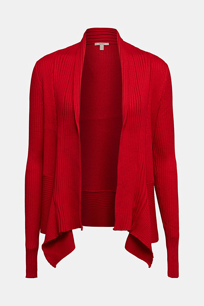 Recycelt: offener Ripp-Cardigan, RED, overview