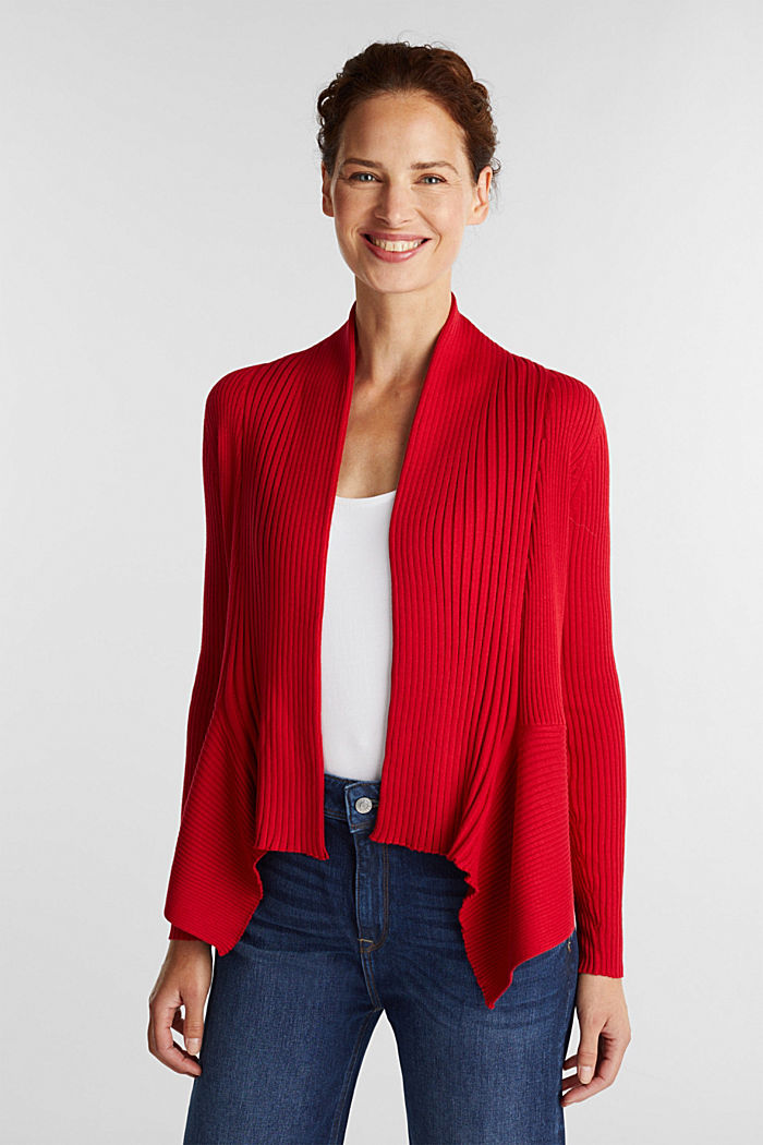 Recycled: open-front ribbed cardigan