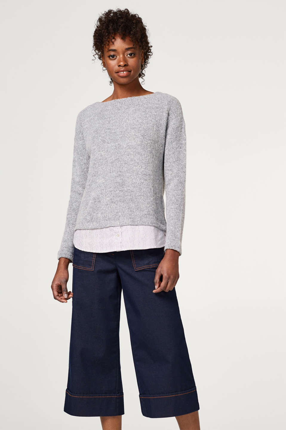 Esprit - Two-in-one jumper with a striped fabric hem