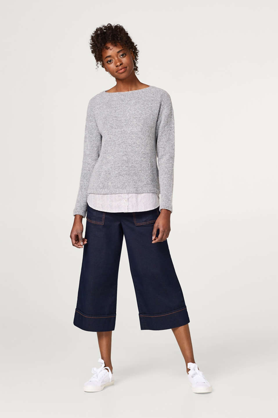 Two-in-one jumper with a striped fabric hem