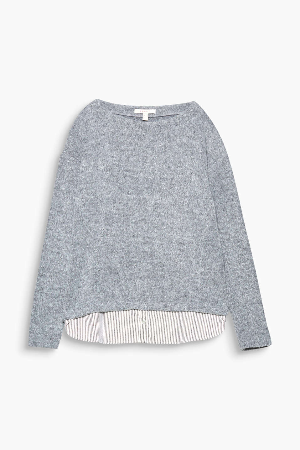 This melange layered jumper with a striped, attached fabric hem is the perfect essential!