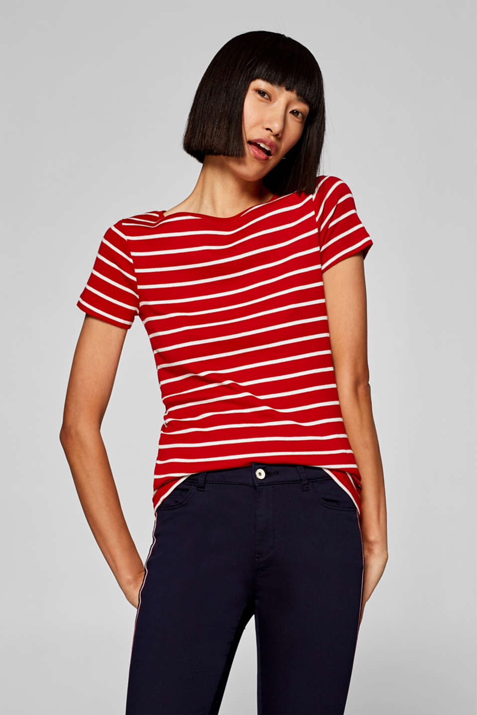 Esprit - Striped top with organic cotton, 100% cotton