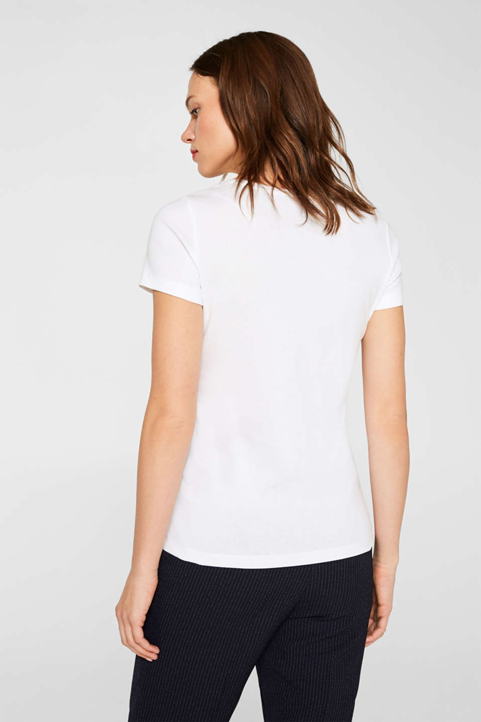 Logo T-shirt with organic cotton, 100% cotton, WHITE, detail image number 3
