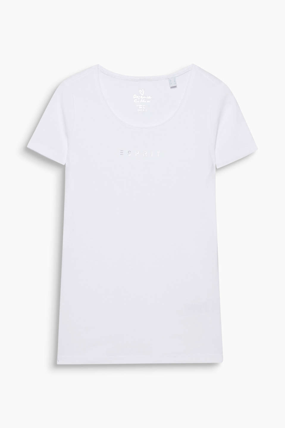Logo T-shirt with organic cotton, 100% cotton, WHITE, detail image number 6