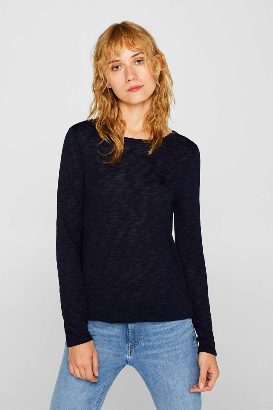 Esprit - Long sleeve top made of melange slub jersey