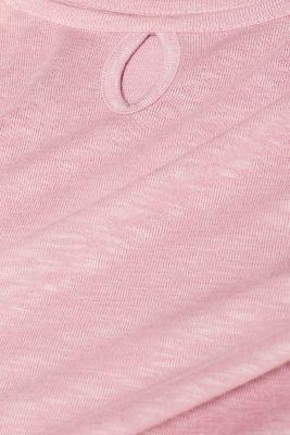 Long sleeve top made of melange slub jersey, OLD PINK, detail