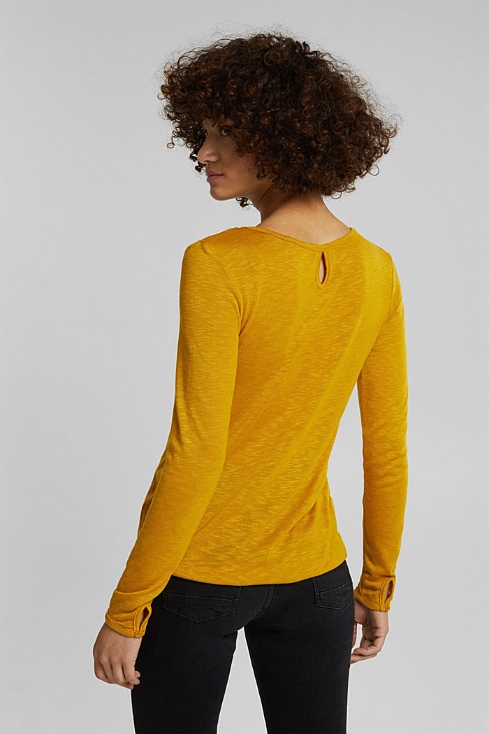 Long sleeve top made of melange slub jersey, BRASS YELLOW, detail image number 3