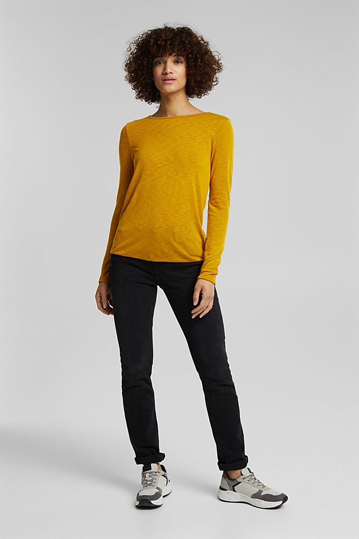 Long sleeve top made of melange slub jersey, BRASS YELLOW, detail image number 6