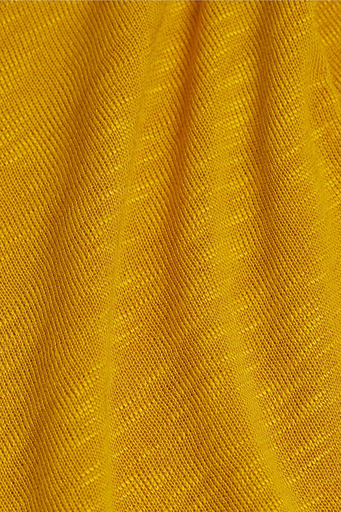 Long sleeve top made of melange slub jersey, BRASS YELLOW, detail image number 4