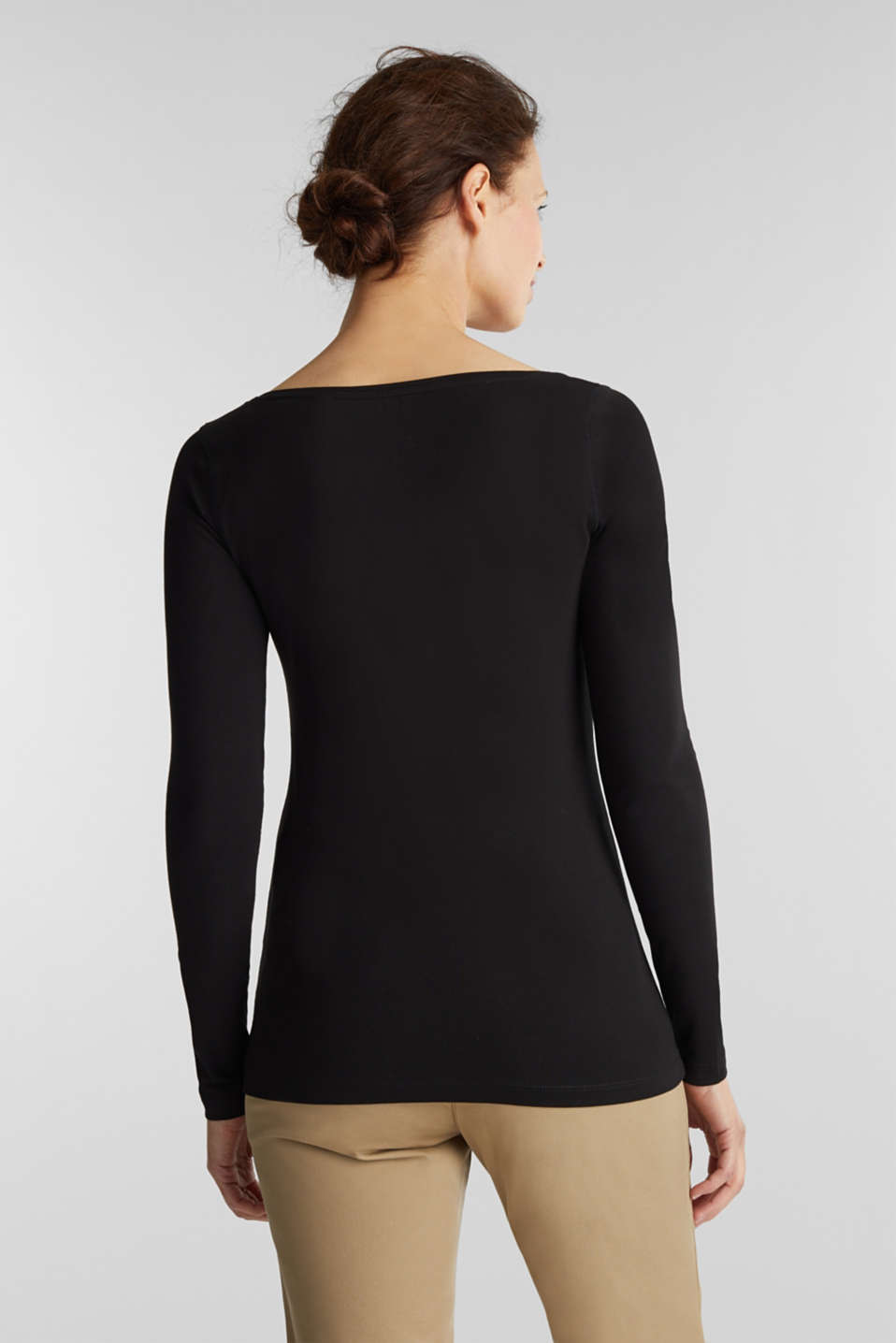 Basic long sleeve top with stretch, BLACK, detail image number 3