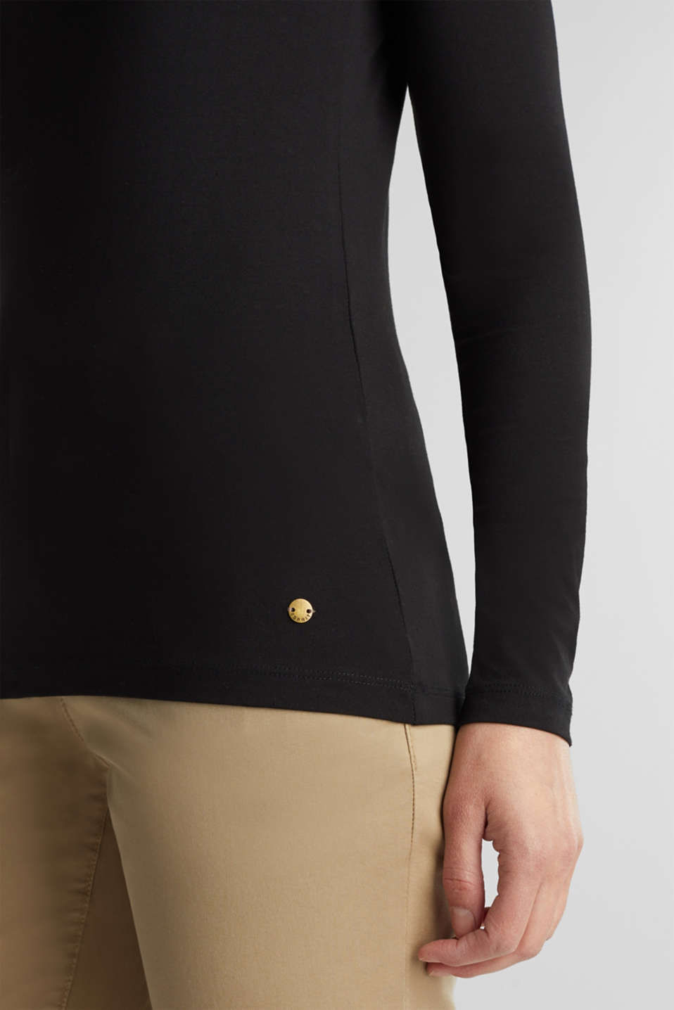 Basic long sleeve top with stretch, BLACK, detail image number 2