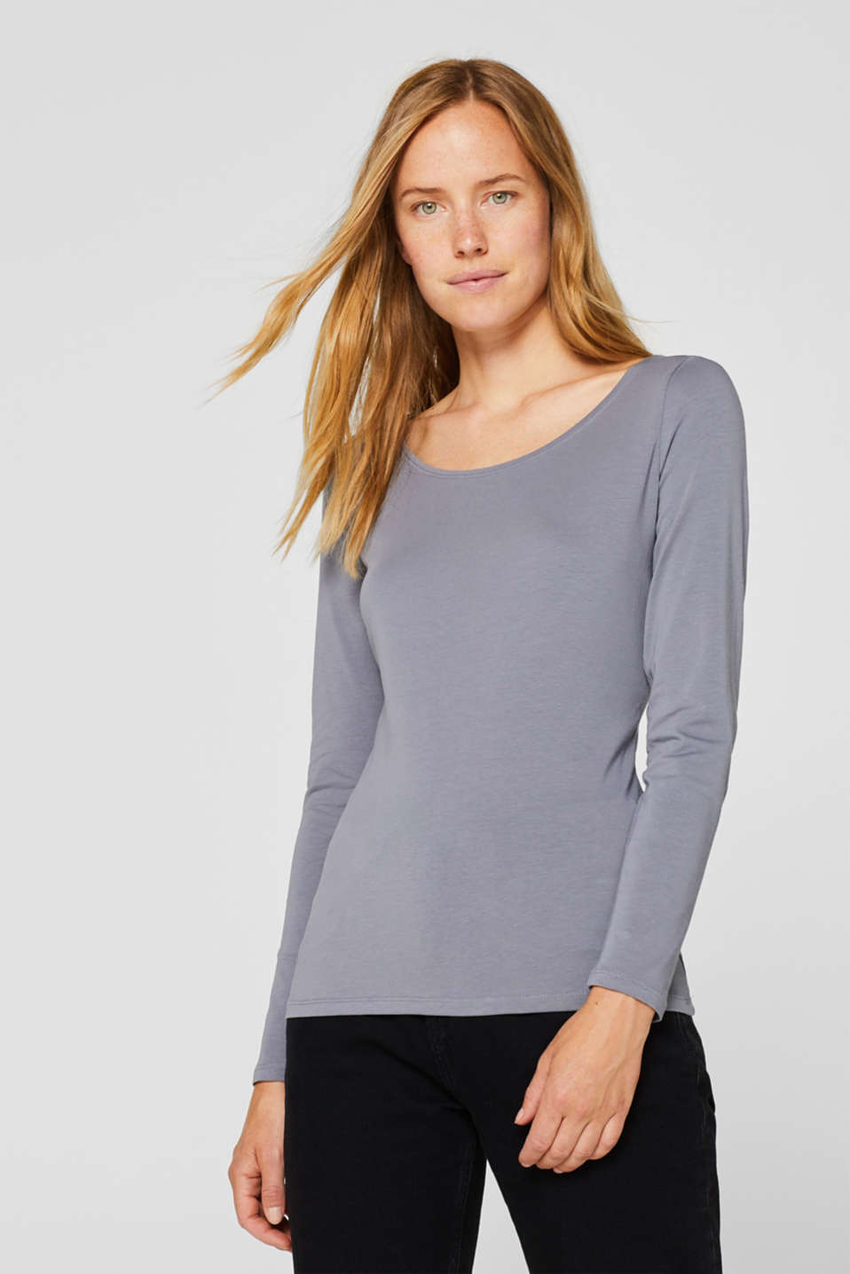 Esprit - Basic longsleeve met stretch