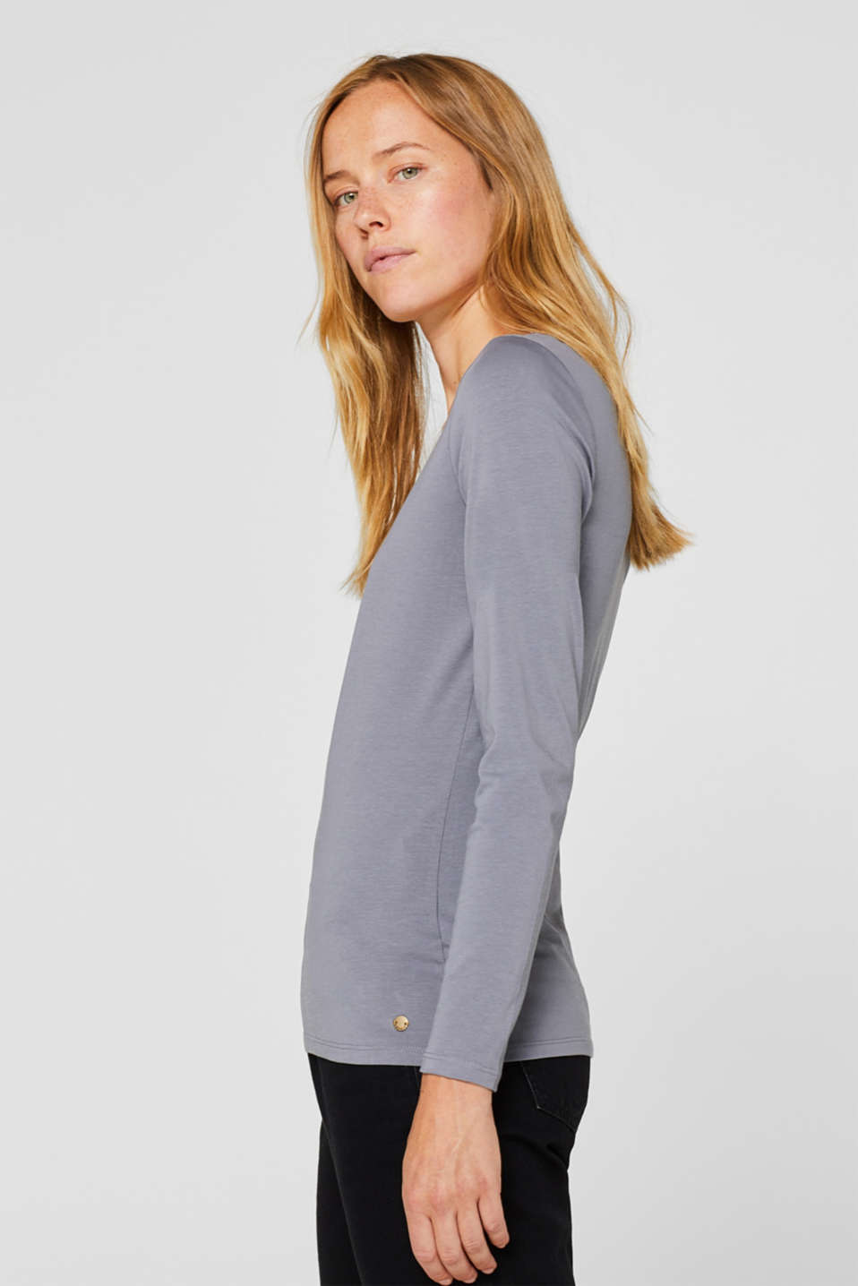 Basic long sleeve top with stretch, GUNMETAL 4, detail image number 3