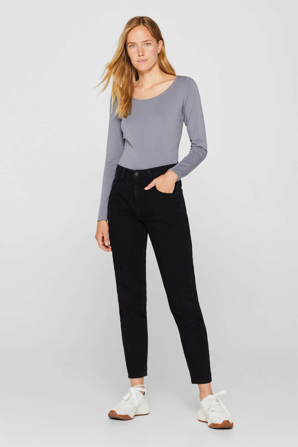 Basic long sleeve top with stretch, GUNMETAL 4, detail image number 1