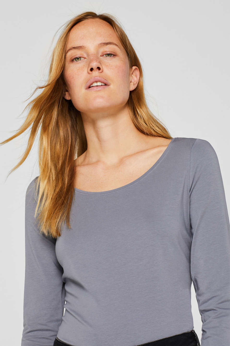 Basic long sleeve top with stretch, GUNMETAL 4, detail image number 5