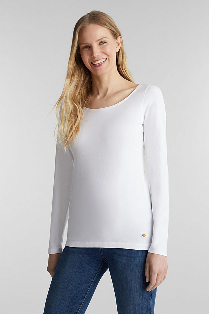 Basic-Longsleeve mit Stretch, WHITE, detail image number 0