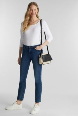 Basic long sleeve top with stretch, WHITE, detail