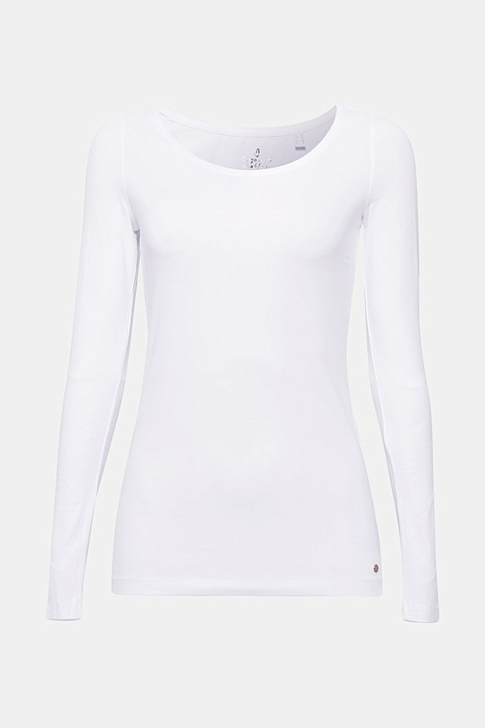 Basic-Longsleeve mit Stretch, WHITE, detail image number 5