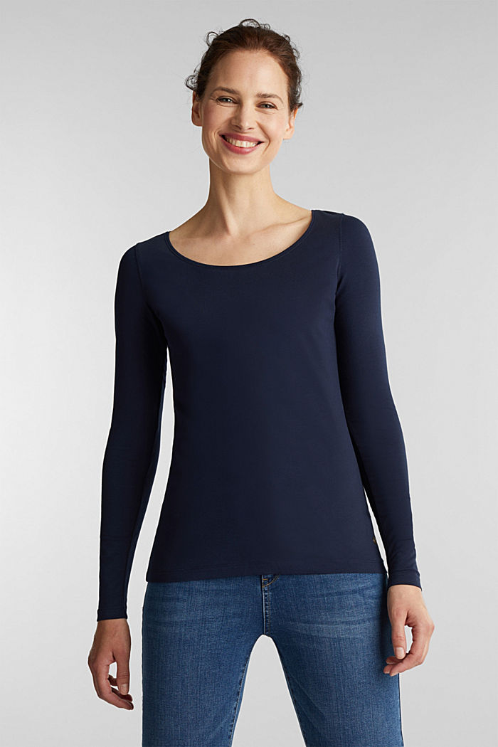 Basic-Longsleeve mit Stretch, NAVY, detail image number 0