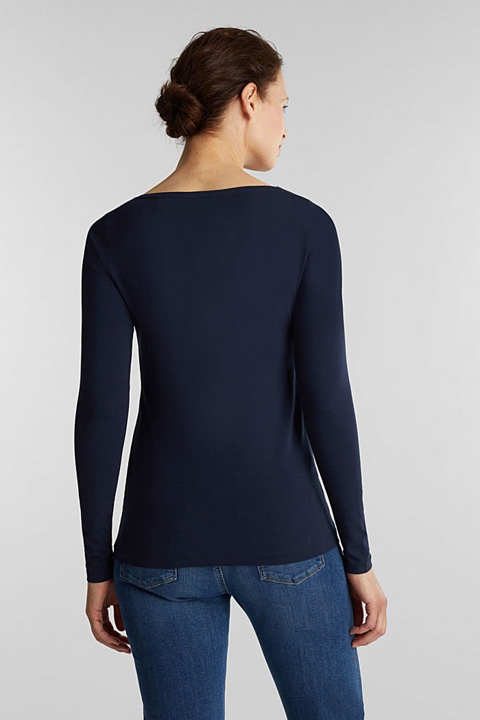 Basic long sleeve top with stretch, NAVY, detail image number 3