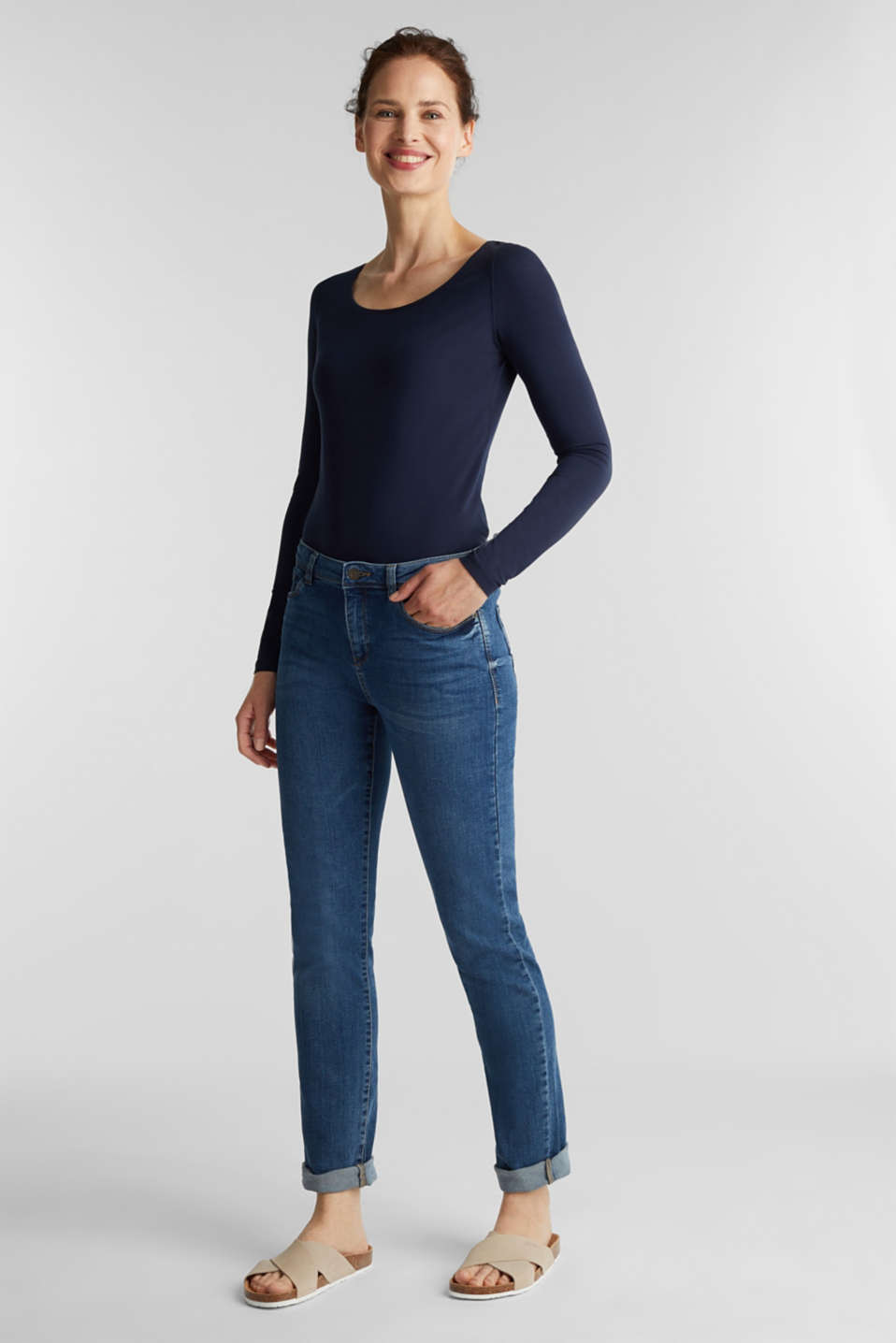 Basic long sleeve top with stretch, NAVY, detail image number 1