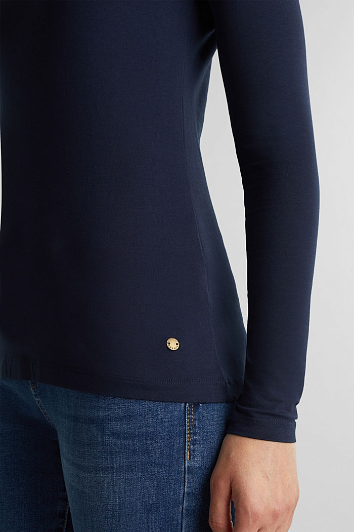 Basic long sleeve top with stretch, NAVY, detail image number 2