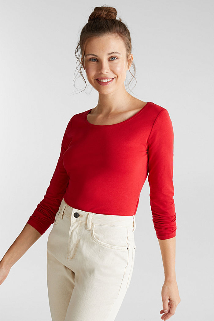 Basic long sleeve top with stretch, DARK RED, detail image number 0