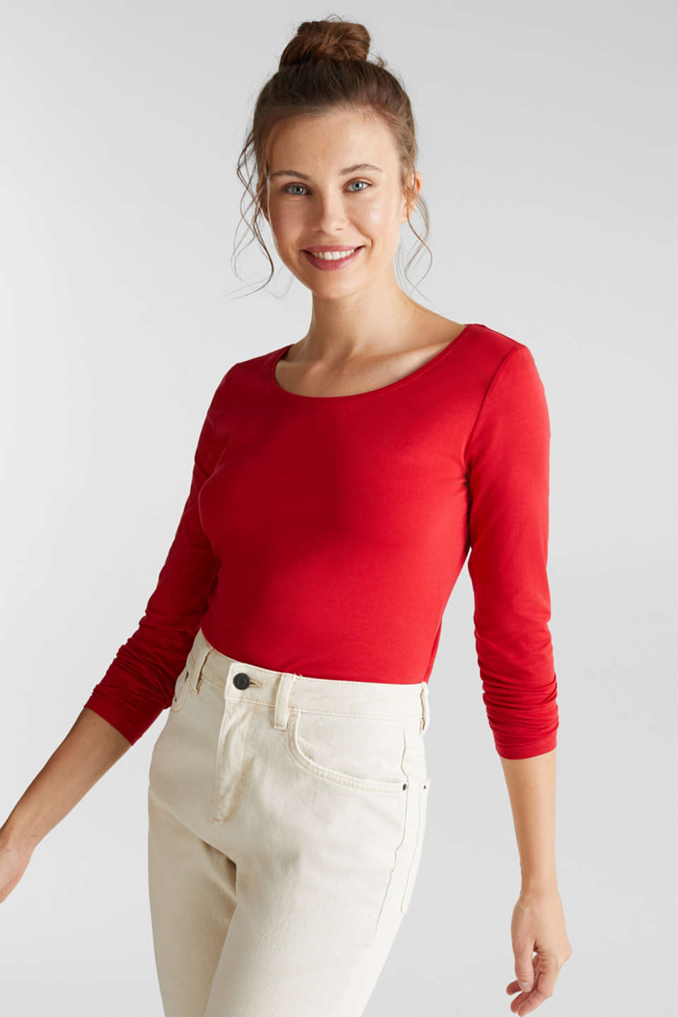 Esprit - Basic long sleeve top with stretch