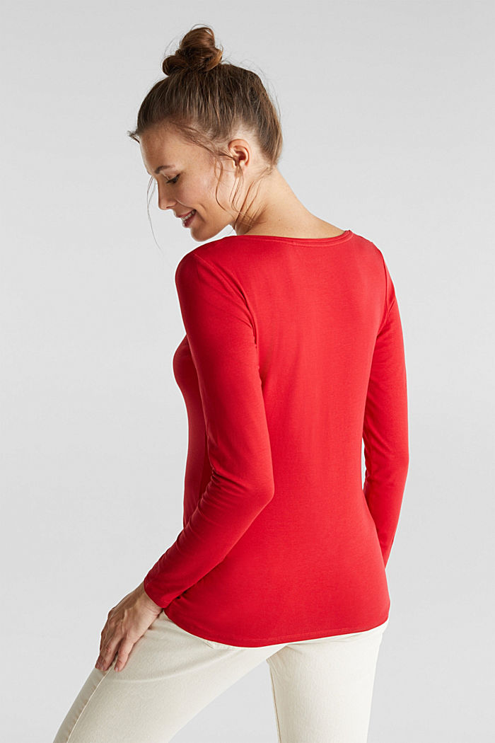 Basic long sleeve top with stretch, DARK RED, detail image number 3