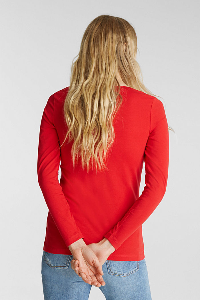 Basic long sleeve top with stretch, RED, detail image number 3