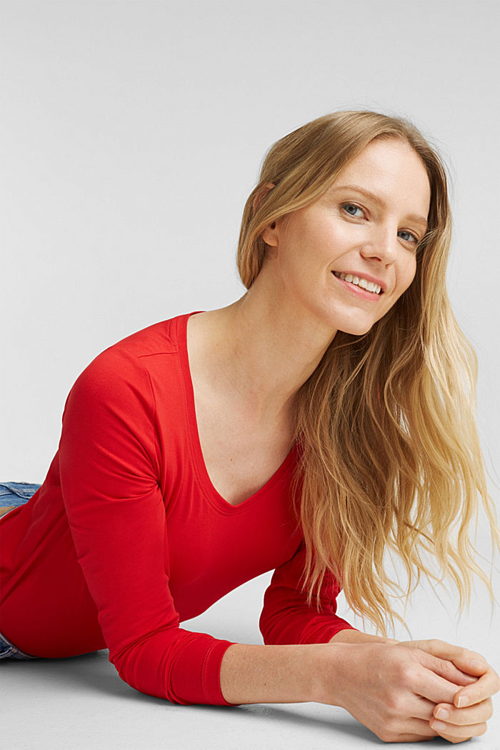Basic long sleeve top with stretch, RED, detail image number 5