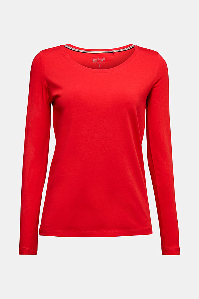 Basic long sleeve top with stretch, RED, detail image number 6