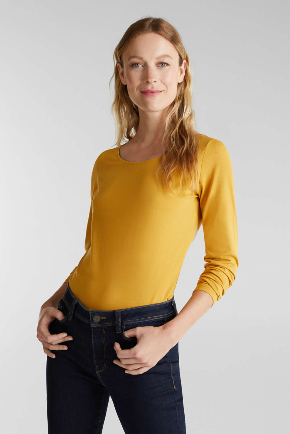 Basic long sleeve top with stretch, HONEY YELLOW, detail image number 0