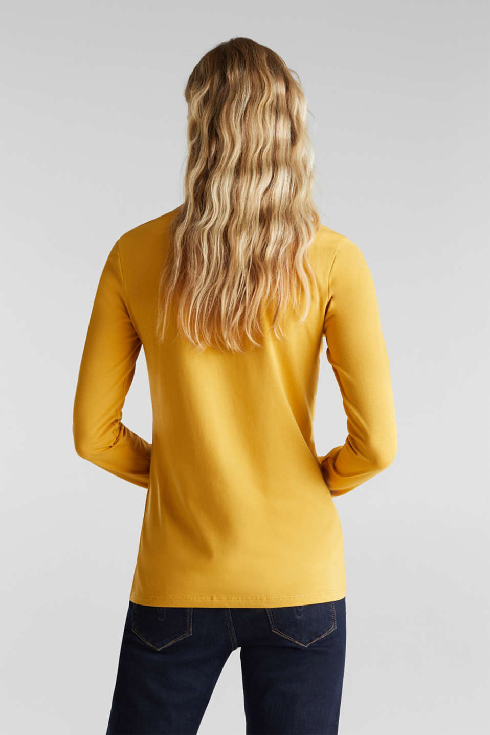 Basic long sleeve top with stretch, HONEY YELLOW, detail image number 3