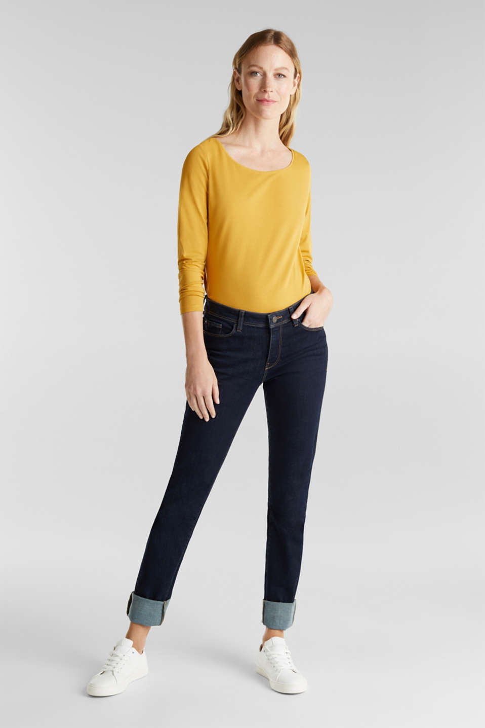 Basic long sleeve top with stretch, HONEY YELLOW, detail image number 1