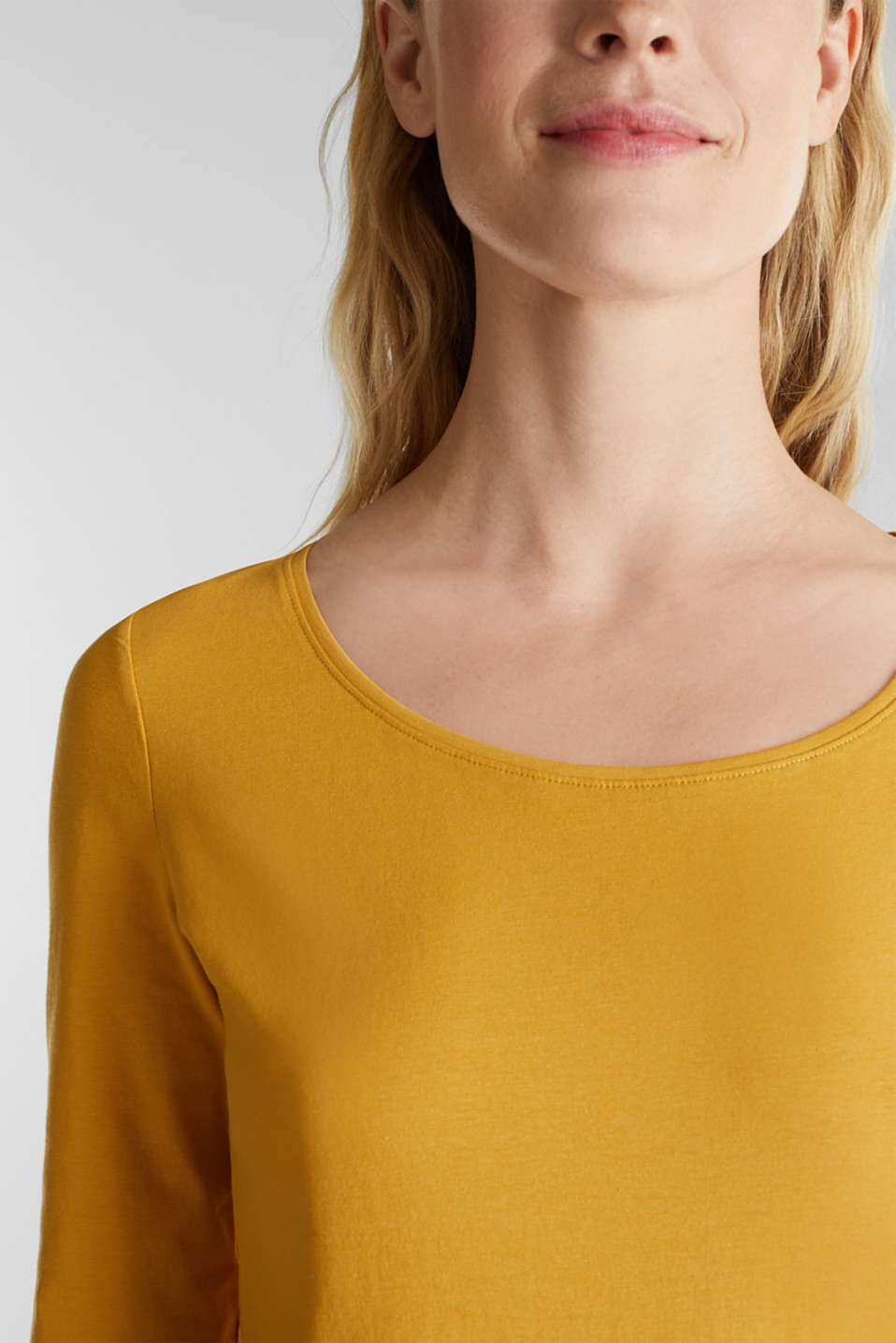 Basic long sleeve top with stretch, HONEY YELLOW, detail image number 2