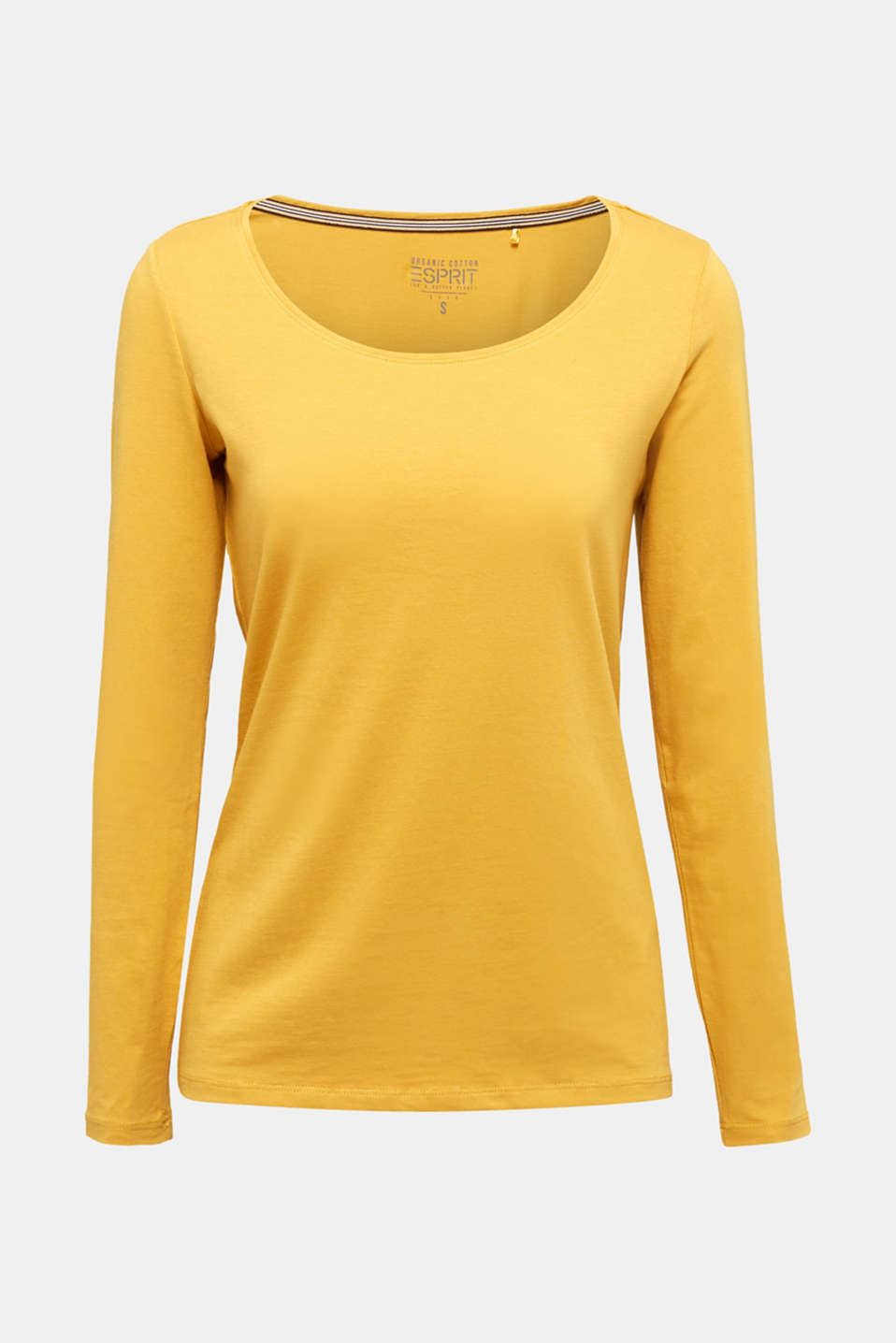 Basic long sleeve top with stretch, HONEY YELLOW, detail image number 6