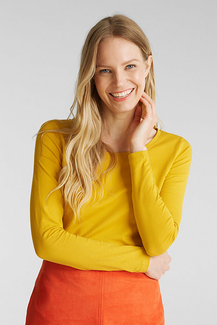 Basic long sleeve top with stretch, BRASS YELLOW, detail image number 0