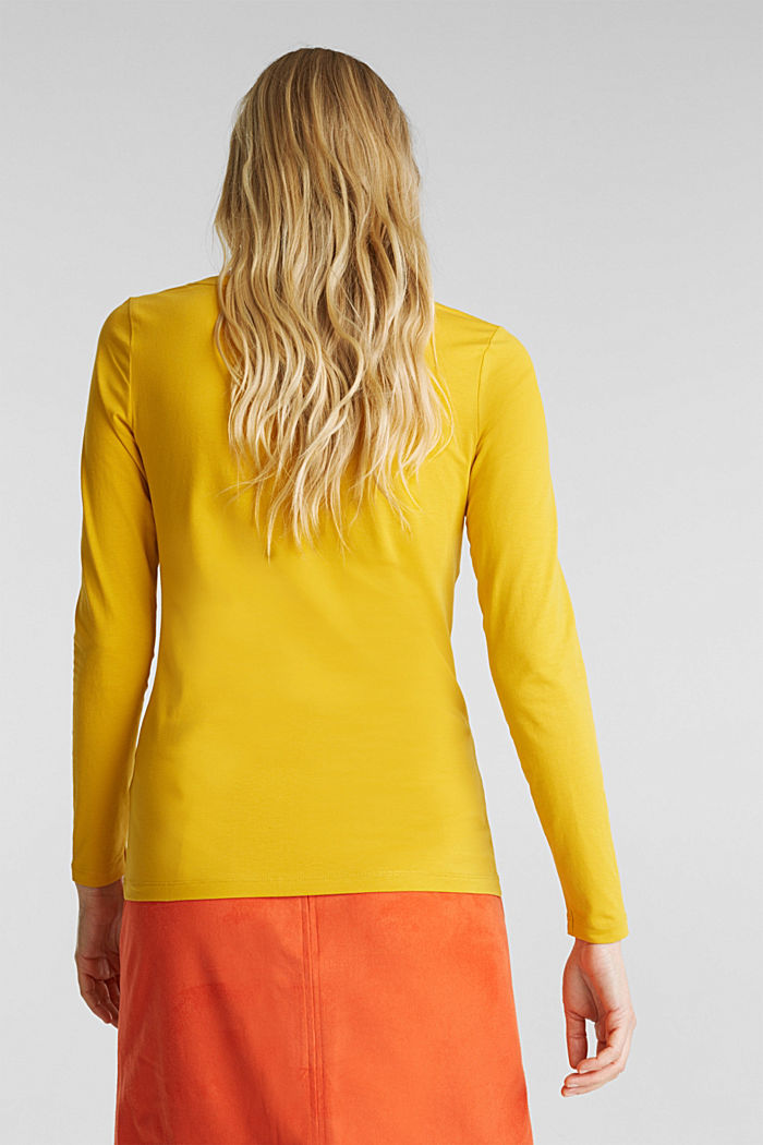 Basic long sleeve top with stretch, BRASS YELLOW, detail image number 3