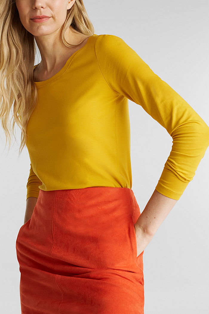 Basic-Longsleeve mit Stretch, BRASS YELLOW, detail image number 2