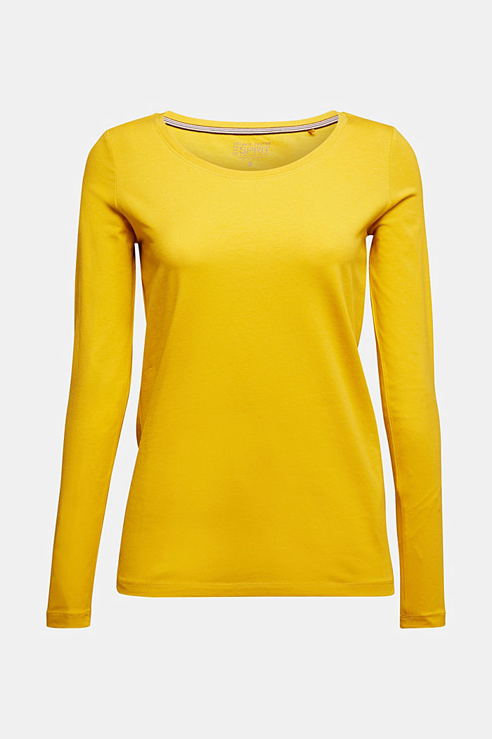Basic long sleeve top with stretch, BRASS YELLOW, detail image number 6