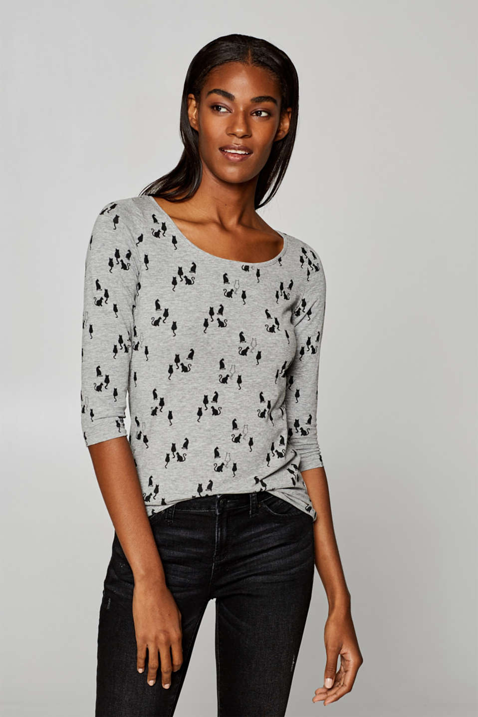 Esprit - Melange stretch top with a print
