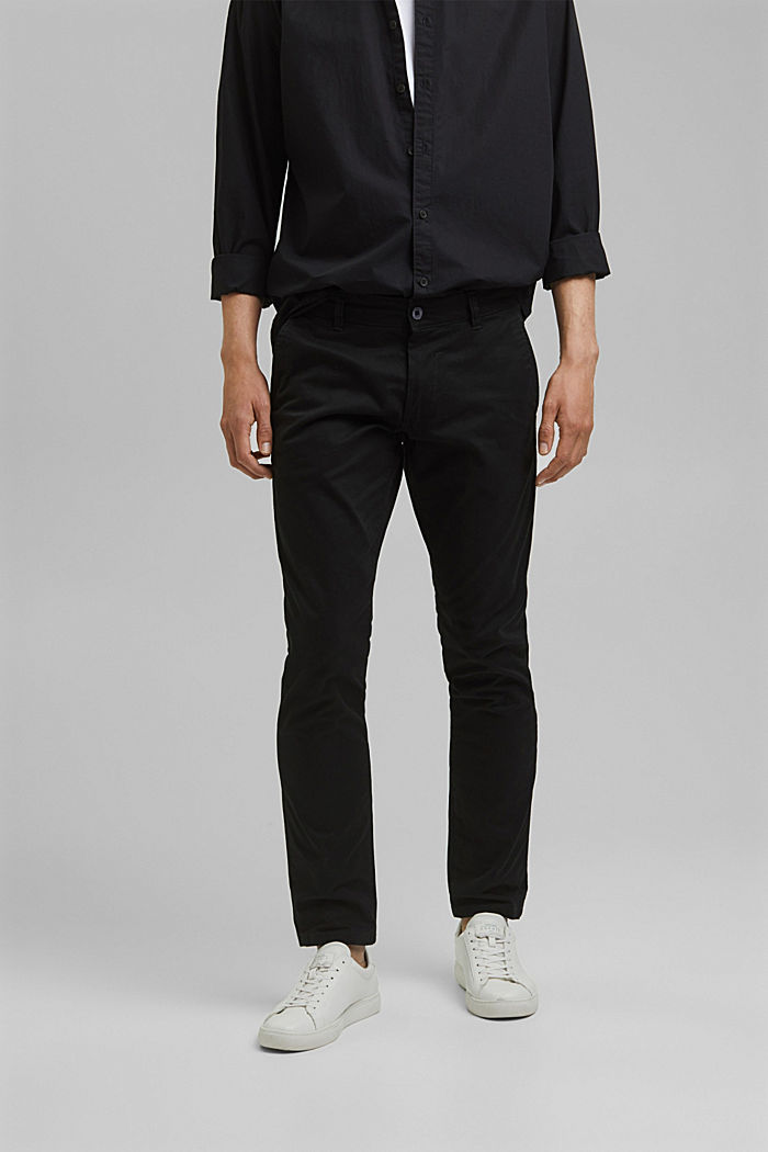 Stretch cotton chinos, BLACK, detail image number 0