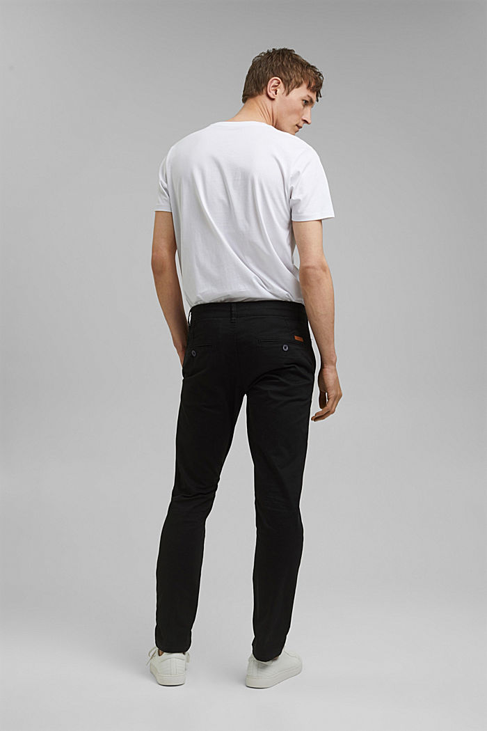 Stretch cotton chinos, BLACK, detail image number 3